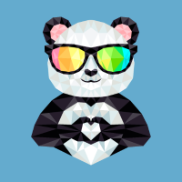 Panda With Rainbow Sunglasses Low Poly Style