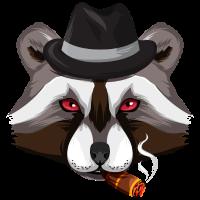Gangster Waschbär mit Zigarre
