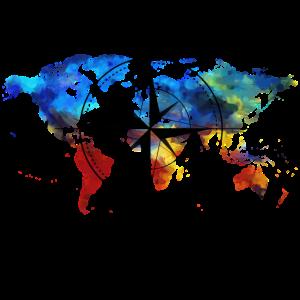 Kompass mit Weltkarte