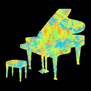 Piano mit Hocker in bunt
