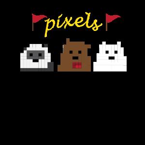 Pixels Tiere Panda Design Geschenkideen Geburtstag