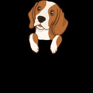 Beagle Brusttasche Hund lustiges T-Shirt Geschenk