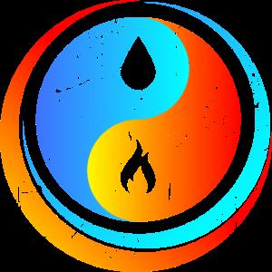 Yin Yang Wasser und Feuer
