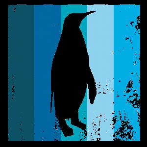 Schatten eines Kaiserpinguin vor blauen Streifen