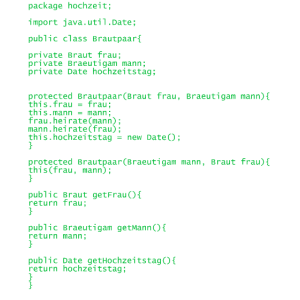 Hochzeit Java Code Informatik JGA
