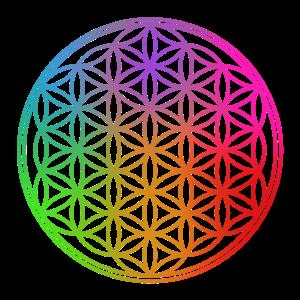 Blume des Lebens - Regenbogen Farben