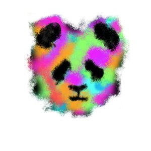 panda watercolor distressed style