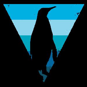 Kaiserpinguin-Silhouette in blauem Dreieck