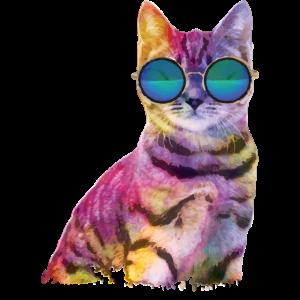 Rave Cat bunte Katze mit brille