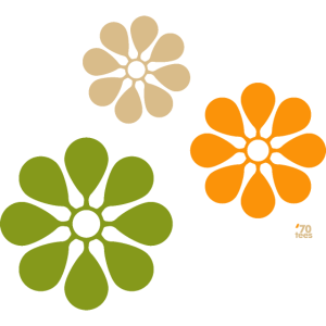 three vintage flowers 70s