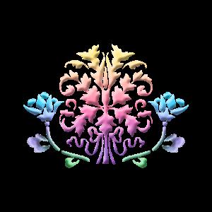 Tribal Baum Regenbogen Blume 3D pastell bunt