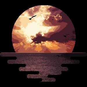 Meer, Sonnenuntergang und der Horizont