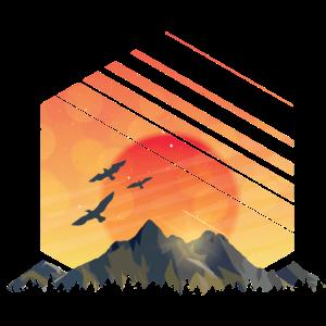 Sonnenuntergang Vögel Berge