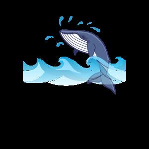 Blauwal springt aus dem Wasser