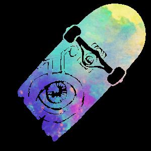 alien skateboard - watercolor style