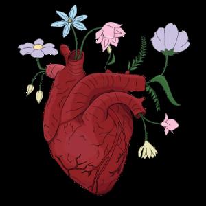 Herz mit Blumen in der Farbe