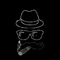 Styler mit Hut Sonnenbrille Schnurbart und Zigarr