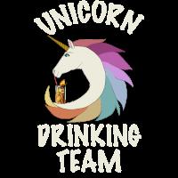 Unicorn Drinking Team mit Cocktail