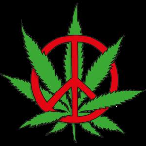 Hanfblatt und Peacezeichen lustige Makse