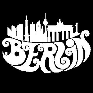 Berlin (weiß)-Berlin,Berlinart,Berlindesign,Berlinillustration,Berlinkunst,Brandenburger Tor,Design,Fernsehturm,Funkturm,Skyline,Typografie,Wahrzeichen,beliebt,likes,trend-