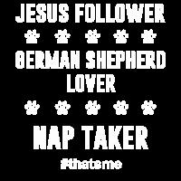 Jesus-Nachfolger Schäferhund-Liebhaber-Nap-Nehmer