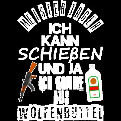 Meister Jäger Wolfenbüttel - Wolfenbüttel Jäger Meister und seine Kalashnikov AK 47 und einer Flasche Alkohol Meister Jäger. Perfektes Geschenk für Wolfenbüttler und Wolfenbüttel Altstadt Fans. - meister jäger,wolfenbütteler,meisterjäger,jagen,Schießsport,kalaschnikov,Geschenkidee,wolfenbüttel,jäger meister,kalashnikov,Geschenk,Jäger,ak47