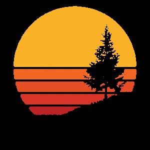 Vintage Pine Tree Mountain Retro Minimalist Sun