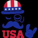 Like a modische Amerikaner Vintage Sir mit Schnurrbart und Ich liebe i love heart USA Flagge Hut für Sport Meisterschaft stolz Abstimmung Amerika