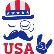 I love heart fashionable American vintage Sir with moustache USA flag bowler for sports championship pride election vote America t-shirts