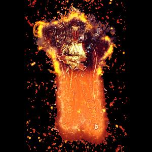 Mann Waffen brennend