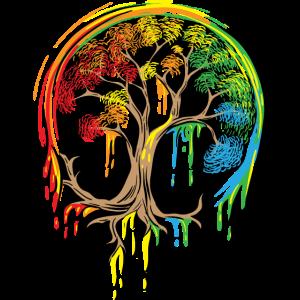 Buntes Baum-Leben ist wirklich gutes Baum-Kunst-Hemd