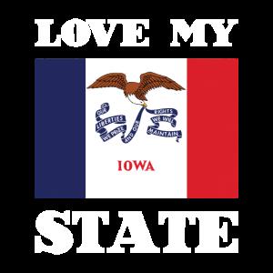 Love my state Iowa State Flag T Shirt