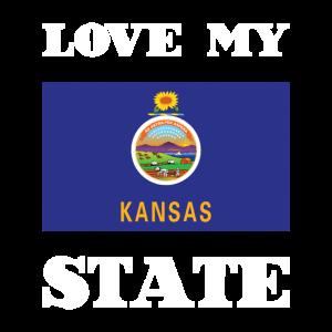 Love my state Kansas State Flag T Shirt