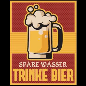 Spare Wasser Trinke Bier Lustige Wiesn T-Shirt