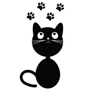 Niedliche Katze hinterlässt Pfotenspuren