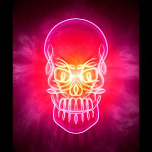 Leuchtender Neonschädel