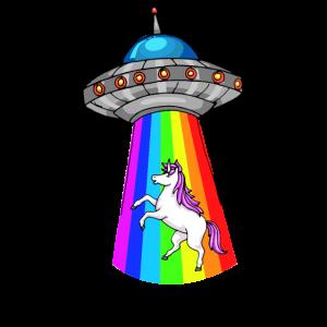 Ufo Einhorn Regenbogen Aliens Raumschiff Beamen