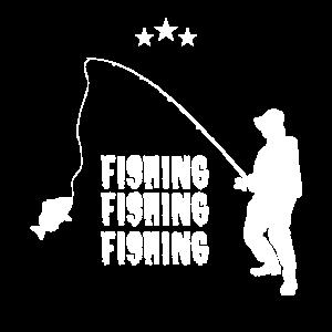 Fischer, der mit Fischen fischt, fischt
