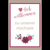 Plakat Herzlich willkommen Boho