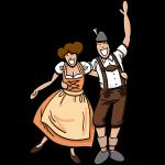 Dirndl and Lederhosen Couple Hugging
