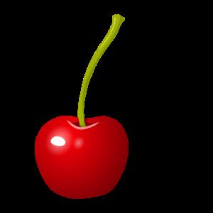 Eine farbenfrohe Kirsche als Print