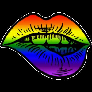 Pride Lips Regenbogen LGBT LGBTQ Gay Lesbian Flag