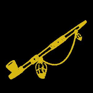 Friedenspfeife in gold und Holz für Frieden