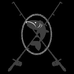 Gekreuzte Angelruten. Design für Angler