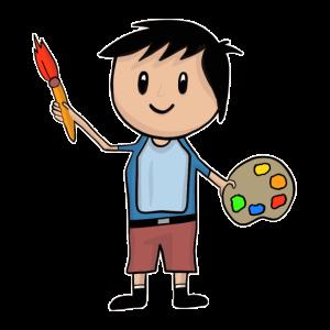 Kleiner Künstler - Junge mit Pinsel und Malpalette