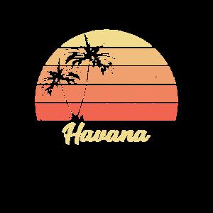 Havana Sonnenuntergang Palme Rot Geschenk Vintage
