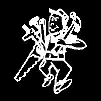 Handwerker, Hammer, Säge, Maßstab - Zimmermann