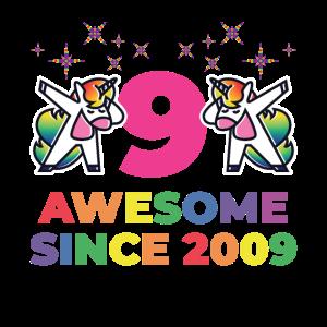 Dabbing Einhorn 2009 9 Jahre Geschenk T-shirt