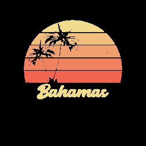 Bahamas Sonnenuntergang Palme Rot Geschenk Vintage