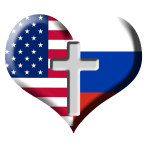 USA and Russia Heart with Cross